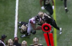 Television replays show a mechanism of injury suspicious for syndesmotic injury for Julio Jones.
